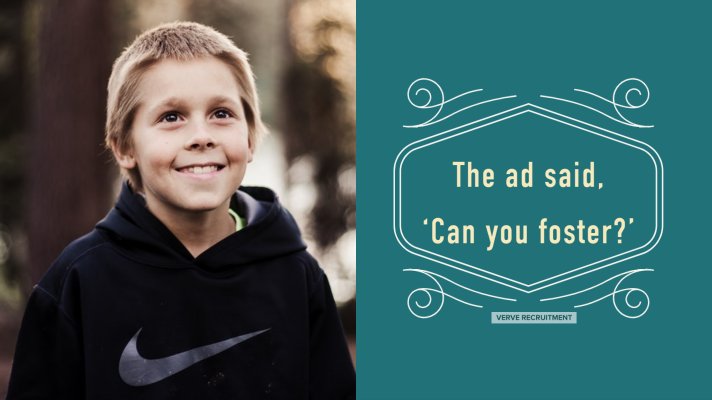 Boy smiling the title is the ad says can you foster?
