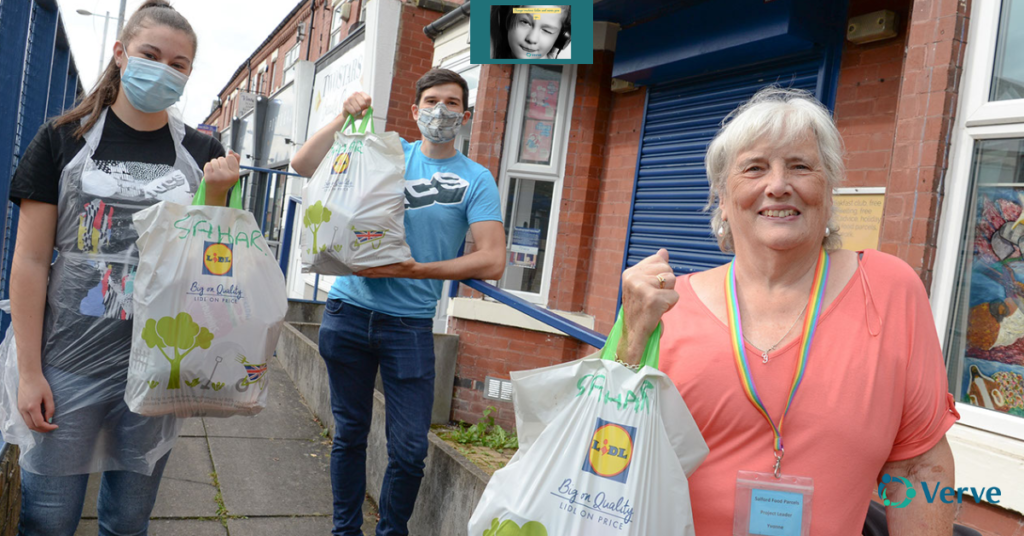 Yvonne Simms when mobile, delivering food parcels in Salford.