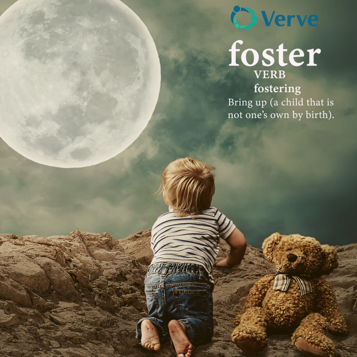 Child looking at the moon, text reads foster, care for someone that is not yours.