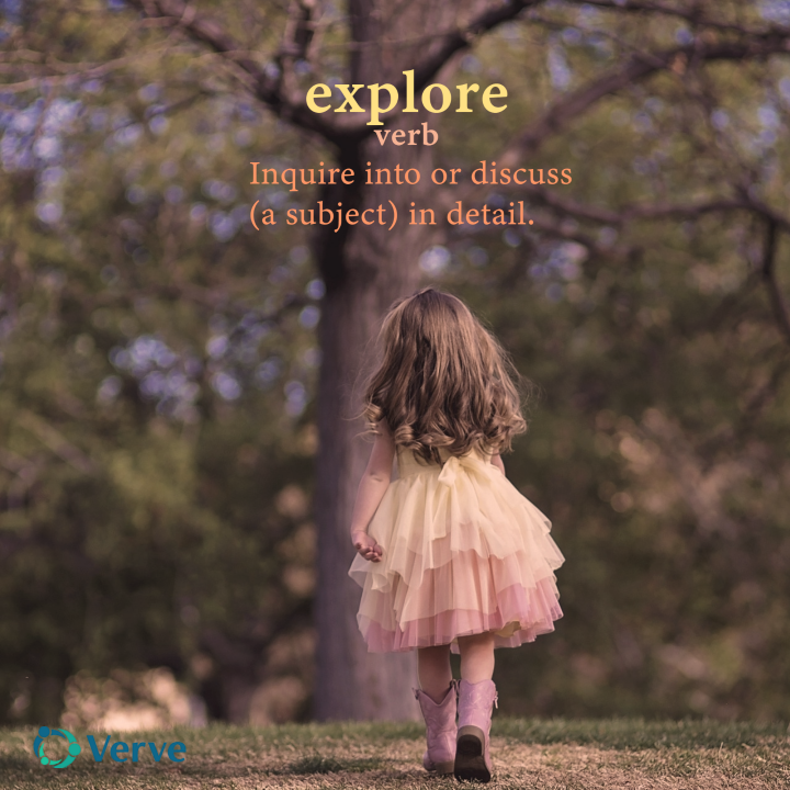 little girl walking away. Text reads explore your dream