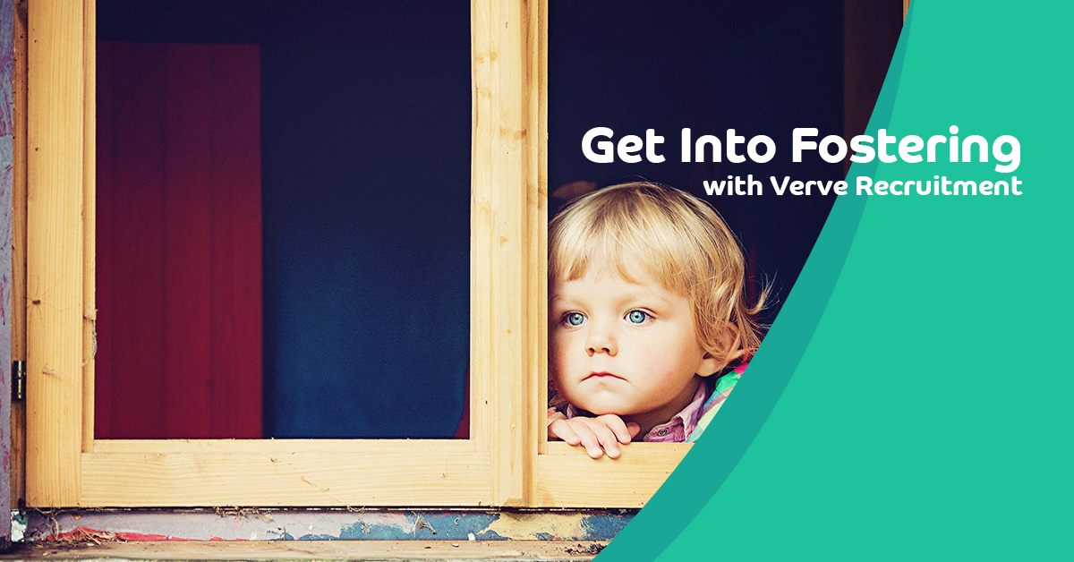 child staring through a window. Verve logo