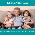 3 children sat together smiling. Caption reads sibling foster care