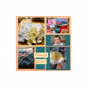 images of knitted baby items donated