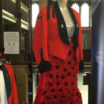 Red dress of knitted poppies